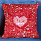 Couple's Heart Initials Word-Art Throw Pillow
