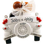 Personalized Old-Fashioned Car Just Married Ornament