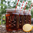 Engraved Bride Tribe Mason Jar