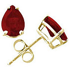 Pear Shape Ruby Earrings in 14k Yellow Gold