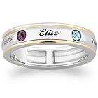 Sterling Silver Two-Tone Mother's Name & Inlaid Birthstone Band