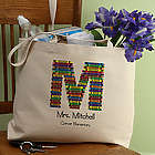Crayon Letter Personalized Teacher Tote Bag