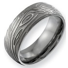 Men's Wood Grain Design Titanium Ring
