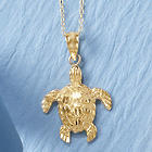 14 Karat Gold-Plated Turtle Pendant