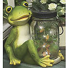 Frog with Jar of Lighted Butterflies Statue
