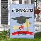 Personalized Congrats Mortarboard and Diploma Garden Flag