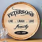 Live Laugh Love Personalized Wine Barrel Sign