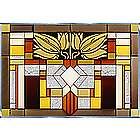 Mission Style Craftsman Art Glass Panel