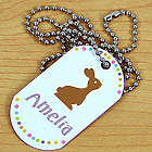 Personalized Chocolate Bunny Dog Tag