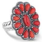 Silver Red Coral Cluster Design Ring