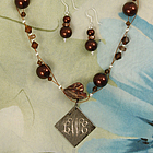 Chocolate Copper Pendant and Shell Pearl Jewelry Set