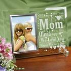 Mom's Beveled Glass Picture Frame in Word-Art Heart Design