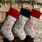 Stamped Snowflake Personalized Christmas Stocking