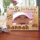 Baby Girl's 1st Birthday Wood 4x6 Picture Frame