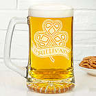 Celtic Shamrock Personalized Beer Mug