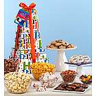 Happy Birthday Snacks and Sweets Gift Tower