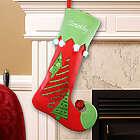 Embroidered Velvet Christmas Tree Stocking