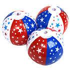 3 Patriotic Star Inflatable Beach Balls