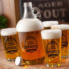 Personalized Black Label Brewery Growler and Glasses Set