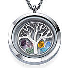 Stainless Steel Family Tree Floating Birthstones Locket