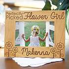 Engraved Flower Girl Wood Picture Frame