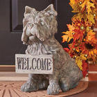 Sitting Dog Welcome Statue