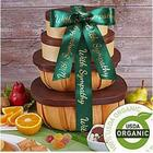 Organic Snacks and Fruits Gift Tower with Sympathy Ribbon