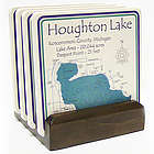Personalized Lake Art Coasters with Dark Wood Stand