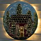 Lighted Cabin Recycled Oil Drum Lid Wall Art