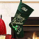Embroidered Merry Christmas Velvet Stocking
