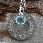 Latitude and Longitude Coordinates Washer Personalized Necklace