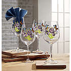 4 Butterfly and Iris Bloom Goblets