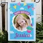Personalized Birthday Photo Sky Confetti One Sided Garden Flag