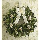 Dried Sympathy Wreath with Cream Satin Bow