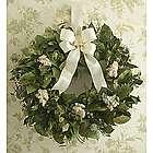 Dried Sympathy Wreath with Cream Satin Bow