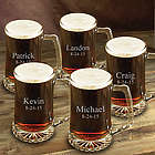 Set of Five Glass Beer Mugs