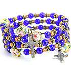 Blue and Coral Glass Bead Rosary Wrap Bracelet