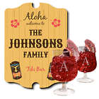 Personalized Tiki Bar Sign and Hurricane Glass