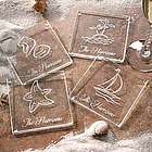Seashore Personalized Glass Coaster Set