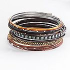 Two-Tone Beaded Bangle Bracelet Set