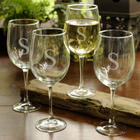 4 Graceful Personalized White Wine Glasses