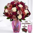 One in a Million Bouquet with Pink Gem Vase & Chocolates