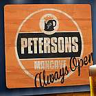 Personalized Always Open Man Cave Wooden Bar Sign
