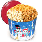 2 Gallons of People's Choice Mix Popcorn in Snowman Tin