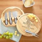 Personalized Eat Drink & Be Married Round Cheese Board Set