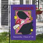 Graduate's Personalized Garden Flag in Purple and Pink