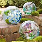 3 Hand Painted Crackle Glass Balls with Lights