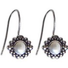 Moon Face Pearl Dangle Earrings