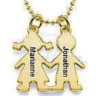 Kids Holding Hands Gold Plated Charm Necklace