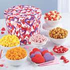 Letterpress Hearts Snack Assortment 2 Gallon Popcorn Gift Tin